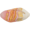 Venetian Glass Beads Feather Pebble 40mm Gold Foil Exterior, Pink