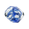 Blue and Blue Aventurina Foil Galaxy, 23X20 Pebble, Murano Glass Bead