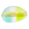 Green and Aqua 24kt Gold Foil Pebble 30x21, Bicolor Murano Glass Bead