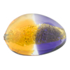 Topaz and Plum 24kt Gold Foil Pebble 30x21, Bicolor Murano Glass Bead