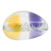 Topaz & Plum Silver Foil Pebble 30x21, Bicolor Murano Glass Bead