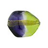 Green and Purple Sasso 23x20mm, Bicolor 24kt Gold Foil Murano Glass Bead