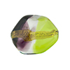 Green and Vinaccia Sasso 23x20mm, Bicolor 24kt Gold Foil Murano Glass Bead
