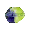 Peridot, Plum Sasso 23x20mm, Bicolor Sterling Silver Foil Murano Glass Bead