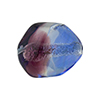 Blue, Purple Sasso 23x20mm, Bicolor Sterling Silver Foil Murano Glass Bead