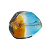 Topaz, Aqua Sasso 23x20mm, Bicolor Sterling Silver Foil Murano Glass Bead