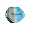 Aqua, Gray Sasso 23x20mm, Bicolor Sterling Silver Foil Murano Glass Bead