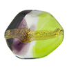 Peridot and Purple 24kt Gold Foil Poliedro 29X24mm, Bicolor Murano Glass Bead