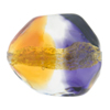 Topaz and Plum 24kt Gold Foil Poliedro 29X24mm, Bicolor Murano Glass Bead