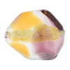 Topaz and Amethyst 24kt Gold Foil Poliedro 29X24mm, Bicolor Murano Glass Bead