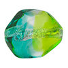 Aqua and Green Silver Foil Poliedro 29X24mm, Bicolor Murano Glass Bead