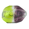 Peridot Green and Purple Silver Foil Poliedro 29X24mm, Bicolor Murano Glass Bead