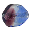 Blue and Purple Silver Foil Poliedro 29X24mm, Bicolor Murano Glass Bead