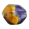 Topaz and Plum Silver Foil Poliedro 29X24mm, Bicolor Murano Glass Bead