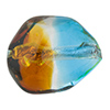 Topaz and Aqua Silver Foil Poliedro 29X24mm, Bicolor Murano Glass Bead