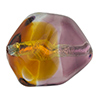 Topaz and Purple Silver Foil Poliedro 29X24mm, Bicolor Murano Glass Bead