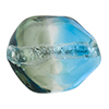 Aqua and Gray Silver Foil Poliedro 29X24mm, Bicolor Murano Glass Bead