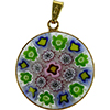 Murano Glass Millefiori Pendant Purple and Green Vermeil Bezel