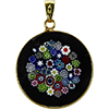 Black Bouquet Millefiori Pendant 23mm Vermeil Bail Murano Glass