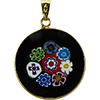 Multi Black Bouquet Millefiori Pendant 23mm Vermeil Bail Murano Glass