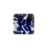 Cobalt Silver Square Fused Murano Glass Cabochon