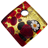 Daisies and Red Gold Foil 30mm Diagonal Pendant, Murano Fused Glass