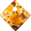 Topaz Gold Foil 30mm Diagonal Pendant, Murano Fused Glass