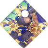 Aqua Cobalt and Aventurina Gold Foil 30mm Diagonal Pendant, Murano Fused Glass
