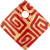 Red and 24kt Gold Foil Greek Key Fused Murano Glass Curved Diagonal Pendant 30mm