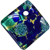 Fused Murano Glass Curved Diagonal Pendant 30mm Aqua & Cobalt Blue Millefiori