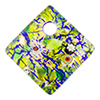 Fused Murano Glass Curved Diagonal Pendant 30mm Green, Multi Millefiori