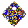 Fused Murano Glass Curved Diagonal Pendant 30mm 24kt Gold, Multi Millefiori