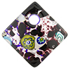 Fused Murano Glass Curved Diagonal Pendant 30mm Black with Silver Foil & Multi Millefiori