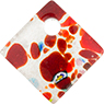 Fused Murano Glass Curved Diagonal Pendant 30mm Red with Silver Foil & Multi Millefiori
