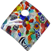 Fused Murano Glass Curved Diagonal Pendant 30mm Silver Foil & Multi Millefiori