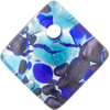 Aqua and Cobalt Silver Foil 30mm Diagonal Pendant, Murano Fused Glass