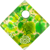 Zanfirico Green Gold Foil 30mm Diagonal Pendant, Murano Fused Glass