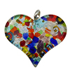 Fused Murano Glass Curved Heart 30x40mm Silver Multi Frit