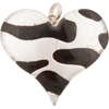 Fused Murano Glass Curved Heart 40mm Silver with Black Lines