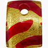 Fused Murano Glass Curved Rectangle Pendant, 40mm, Gold Foil Red Frit
