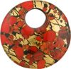 Fused Murano Glass Pendant 40mm Round, Curved, Bronze Red Gold