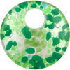 Fused Murano Glass Pendant 40mm Round, Curved, Peridot & Green Silver