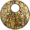 Fused Murano Glass Pendant 40mm Round, Curved, Bronze Gold