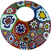 Millefiori Bright Colors Fused Curved Round Pendant, Murano Glass