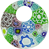 Millefiori Pastel Colors Fused Curved Round Pendant, Murano Glass