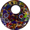 Multi-Colored Murano Glass Curved Round Pendant, 50mm, Gold Foil & Millefiori