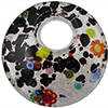 Mulri Millefiori with Black Fused Murano Glass Curved Round Pendant 50mm Silver Foil