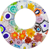 Multi Millefiori Donut Pendant 36mm, Murano Fused Glass