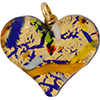 Murano Glass Flat Fused Murano Glass Heart w/Bail Multi LInes Gold