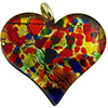 Murano Glass Flat Fused Murano Glass Heart w/Bail Multi Gold